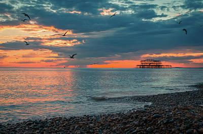 Brighton Beach At Sunset Art Print by Marius Comanescu