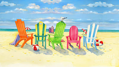 Brighton Beach Chairs Art Print by Paul Brent