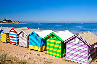 Brighton Beach Huts Print by Az Jackson
