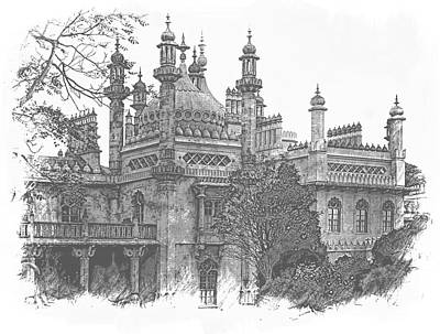 Photograph - Brighton Pavilion Black And White by Dorothy Berry-Lound