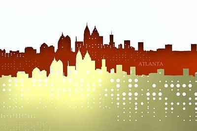 Relief Digital Art - Brights Of Atlanta Skyline by Alberto RuiZ
