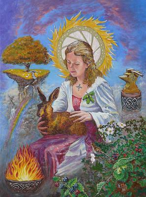 Brigid Goddess Celtic Goddess Of Fire Art Print by Tomas OMaoldomhnaigh
