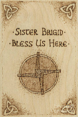 Pyrography - Brigid's Cross Blessing Woodburned Plaque by Brandy Woods