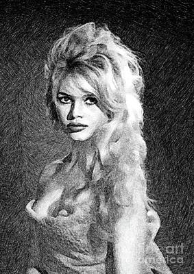 Musicians Drawings Rights Managed Images - Brigitte Bardot, Actress by JS Royalty-Free Image by Esoterica Art Agency