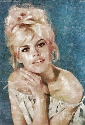 Bardot Painting - Brigitte Bardot, Actress by Mary Bassett