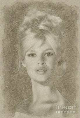 Star Trek Drawing - Brigitte Bardot Hollywood Actress by Frank Falcon