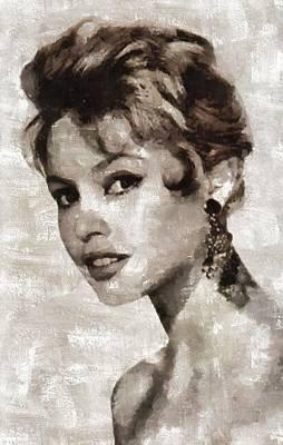 Bardot Painting - Brigitte Bardot Hollywood Actress by Mary Bassett