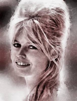 Television Painting - Brigitte Bardot Hollywood Icon By John Springfield by John Springfield