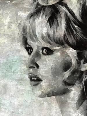 Bardot Painting - Brigitte Bardot Hollywood Icon By Mary Bassett by Mary Bassett