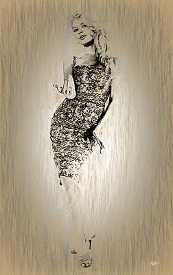 Portraiture Digital Art - Brigitte Bardot Sketch by Quim Abella