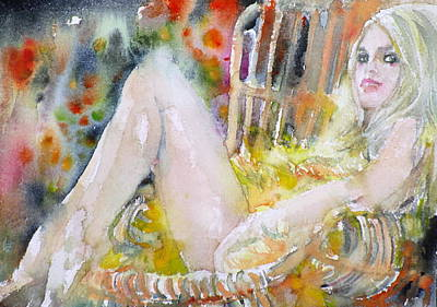 Painting - Brigitte Bardot - Watercolor Portrait by Fabrizio Cassetta