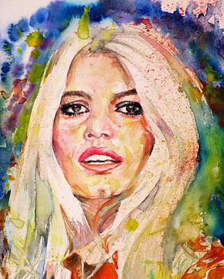 Painting - Brigitte Bardot - Watercolor Portrait.2 by Fabrizio Cassetta