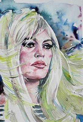 Painting - Brigitte Bardot - Watercolor Portrait.3 by Fabrizio Cassetta