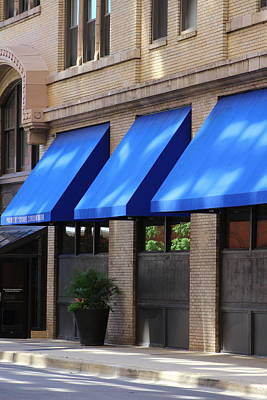 Photograph - Brilliant Cerulean Blue Awnings In Chicago by Colleen Cornelius