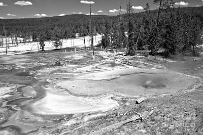 Photograph - Brilliant Colors At Firehole Spring Black And White by Adam Jewell