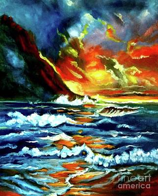 Painting - Brilliant Hawaiian Sunset by Jenny Lee