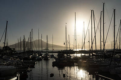 Photograph - Brilliant Hot Sunshine - Naples Marina Yachts With Vesuvius Volcano Background by Georgia Mizuleva