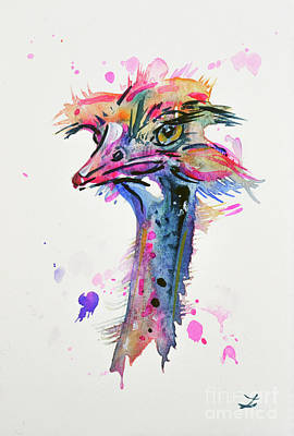 Painting - Brilliant Ostrich by Zaira Dzhaubaeva
