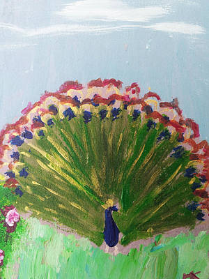 Wall Art - Painting - Brilliant Peacock by Helen Krummenacker