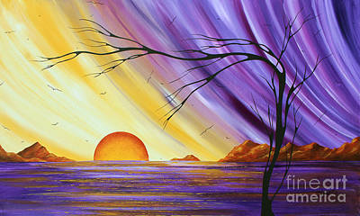 Shimmering Painting - Brilliant Purple Golden Yellow Huge Abstract Surreal Tree Ocean Painting Royal Sunset By Madart by Megan Duncanson