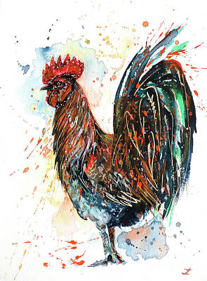 Painting - Brilliant Rooster by Zaira Dzhaubaeva