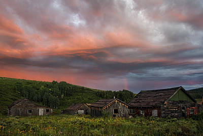 Brilliant Skies Over A Ghost Town Near Steamboat Springs Colorado Art Print