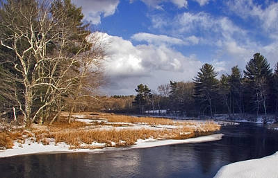 Brilliant Sky Snowy Brook Art Print by Frank Winters