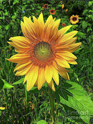 Photograph - Brilliant Sunflower With Green Background by Eleanor Abramson