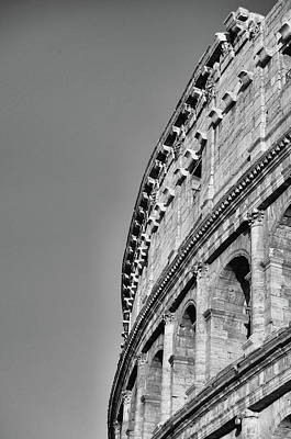 Photograph - Brilliant Sunlit Exterior Of The Roman Colosseum Black And White by Shawn O'Brien