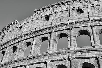 Photograph - Brilliantly Sunlit Exterior Of The Roman Colosseum Black And White by Shawn O'Brien
