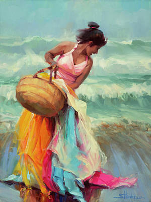 Beach Oil Painting - Brimming Over by Steve Henderson