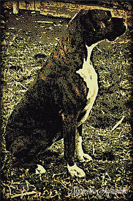 Boxer Puppy Digital Art - Brindle Boxer At Attention by Mariecor Agravante