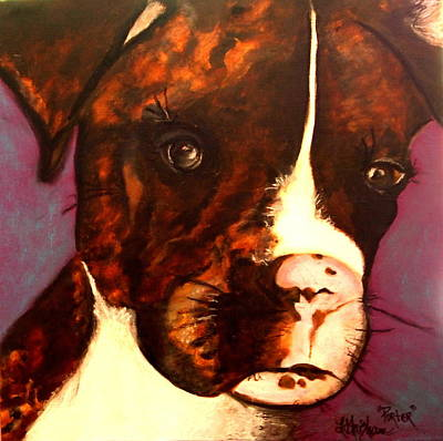 Painting - Brindle Boxer Puppy- Porter by Laura  Grisham
