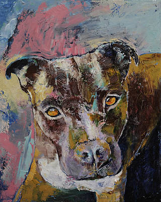 Pitbull Painting - Brindle Bully by Michael Creese