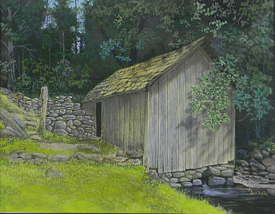 Painting - Brinegar Cabin Springhouse by Jack Bolin