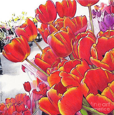 Colored Pencil Painting - Bring Home Tulips by Rhonda Dicksion