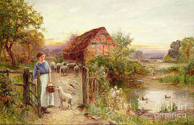 The Shepherdess Painting - Bringing Home The Sheep by Ernest Walbourn