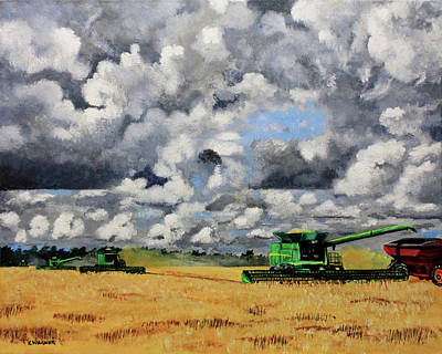 Painting - Bringing In The Last Of The Harvest by Karl Wagner