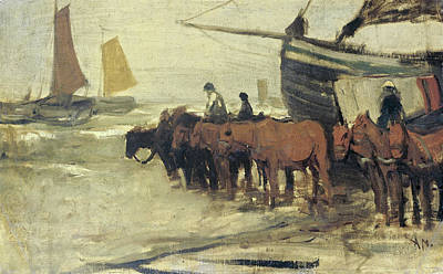 Portrait Painting - Bringing Into The Sea From A Fishing Smack by Anton Mauve