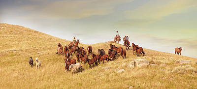 Photograph - Bringing The Herd Down by Fast Horse Photography