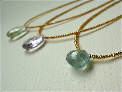 Adove Jewelry - Briolette And 24k Gold Bead Delicate Necklaces by Adove  Fine Jewelry