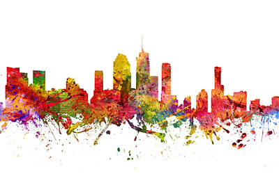Skylines Drawings - Brisbane Australia Cityscape 08 by Aged Pixel