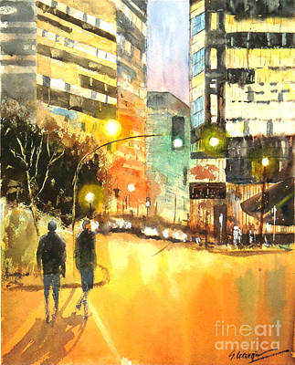 Painting - Brisbane City Lights by Sof Georgiou