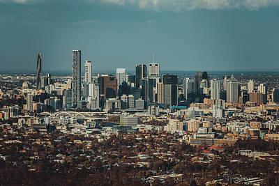 Black Background Mixed Media - Brisbane Cityscape From Mount Cootha #2 by Stanislav Kaplunov