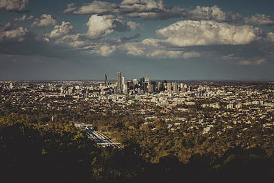 Black Background Mixed Media - Brisbane Cityscape From Mount Cootha #3 by Stanislav Kaplunov