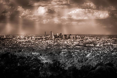 Black Background Mixed Media - Brisbane Cityscape From Mount Cootha #4 by Stanislav Kaplunov