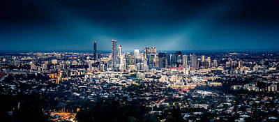 Black Background Mixed Media - Brisbane Cityscape From Mount Cootha #6 by Stanislav Kaplunov