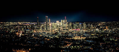 Black Background Mixed Media - Brisbane Cityscape From Mount Cootha #7 by Stanislav Kaplunov
