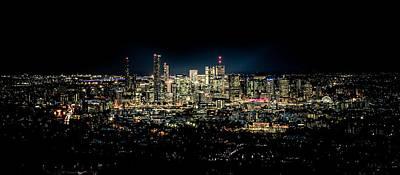 Black Background Mixed Media - Brisbane Cityscape From Mount Cootha #8 by Stanislav Kaplunov
