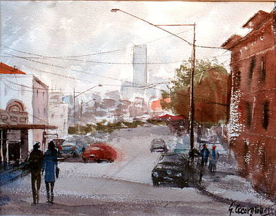 Painting - Brisbane Paddington Street Scene by Sof Georgiou